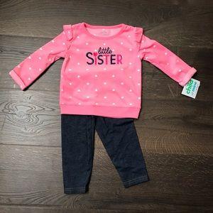 """NWT """"Little Sister"""" Fleece Sweatshirt + Pants -18m"""